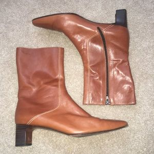 Cole Haan Tan Leather short heeled boots